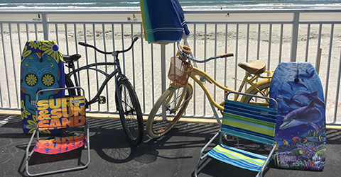 Beach Chairs, Boogie Boards and Beach Cruisers